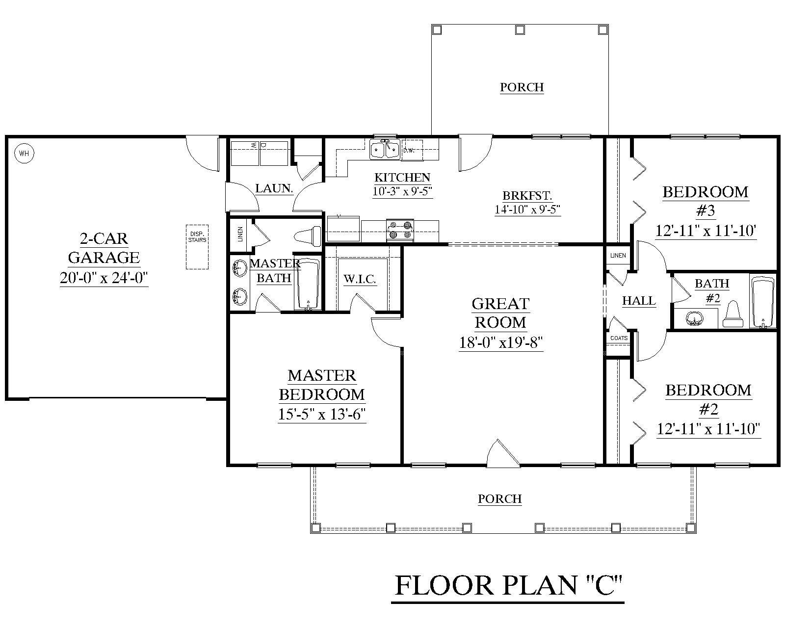 House plan 1500 c the james c attractive one story ranch for Three bedroom ranch floor plans