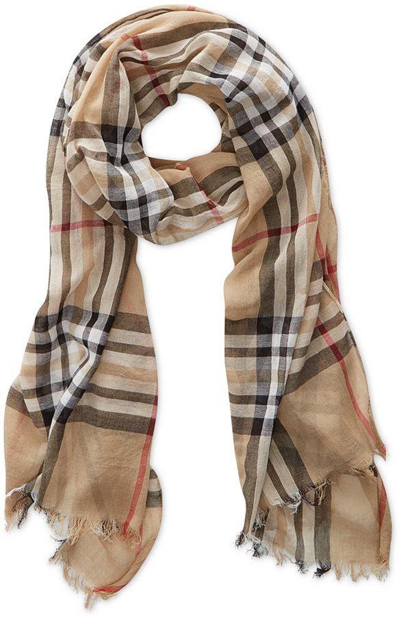 10b3f143bf982 Style&co. V Fraas Gauzy Plaid Scarf on shopstyle.com   Gifts   Plaid ...