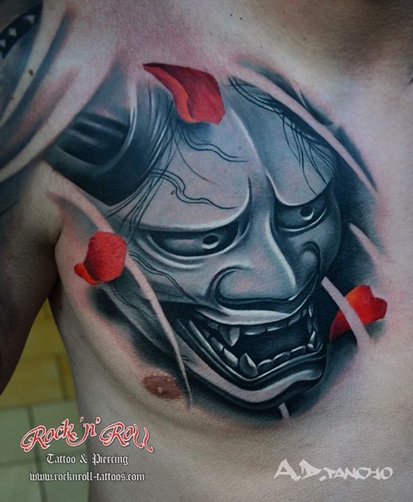 Japanese hanya mask Artist: A.D Pancho   Inspirations: Tattoos ...
