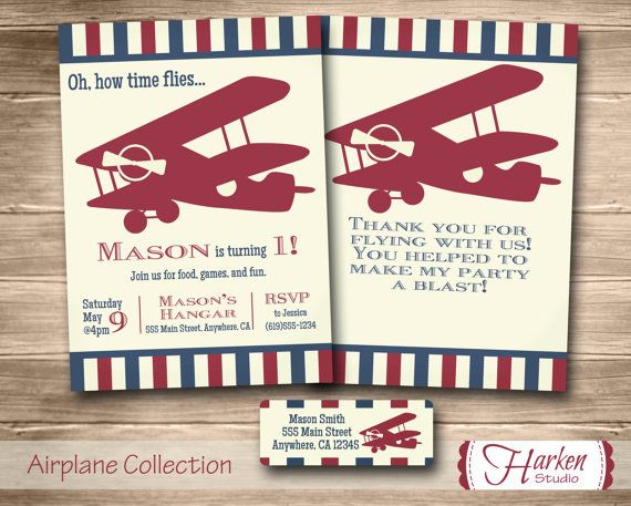 Airplane Birthday Invitation Kit Invite Thank You Card and