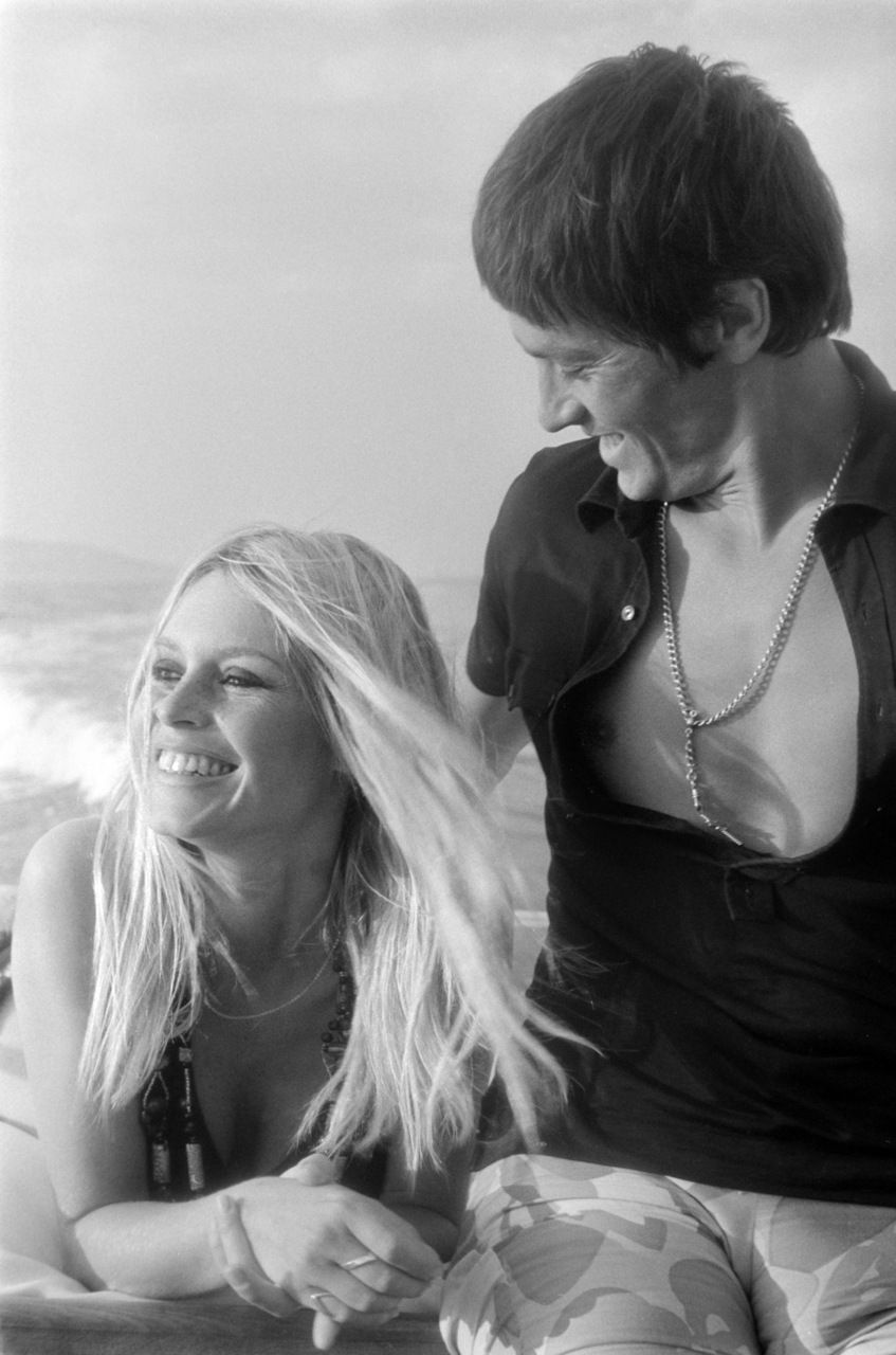 Alain Delon With Brigitte Bardot In Saint Tropez 1968 With