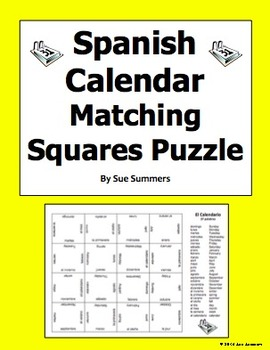 Spanish Calendar Matching Squares Puzzle And Assignment Days