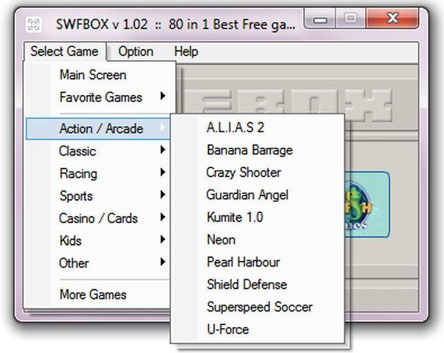 SWFBOX, una colección de 80 juegos flash portables