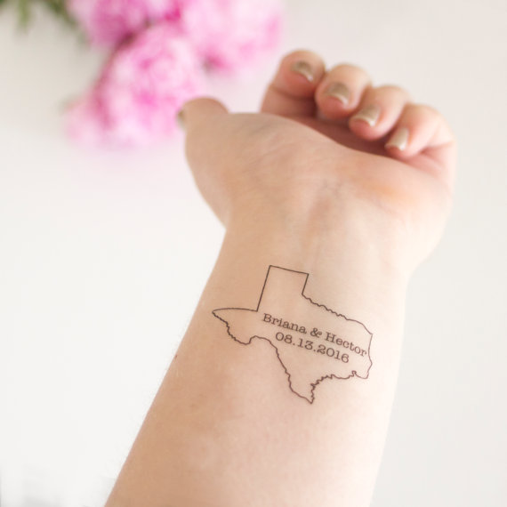 Texas Temporary Tattoo Customized With S Names Wedding Date Destination Gift Bag Swag Favor