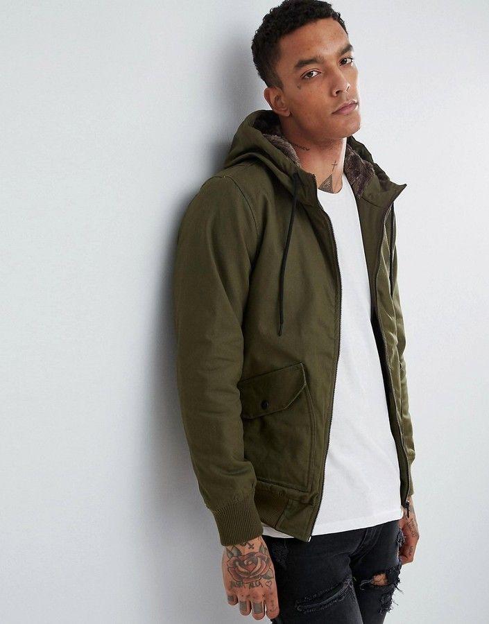 9fb5c556b Bershka Coat With Fur Hood In Khaki | Men's fashion ( Urban, African ...