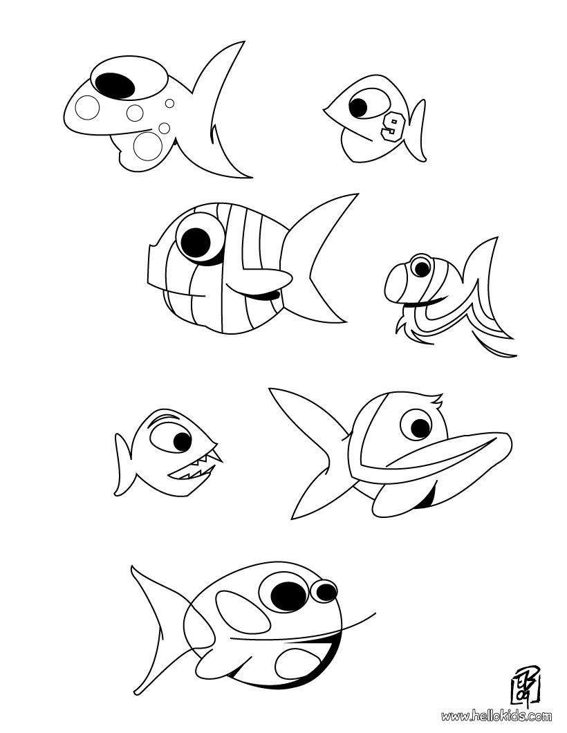 Beautiful Fishes coloring page. Nice coloring sheet of sea world ...