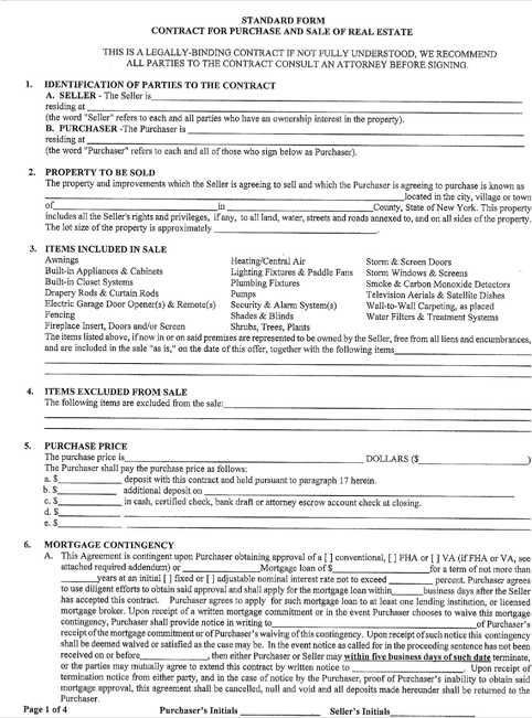 New York Offer To Purchase Real Estate Form Templatesforms