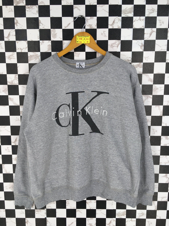 Vintage 90 S Calvin Klein Jeans Jumper Crewneck Women Medium Ck New York Usa Spell Out Streetwear Gray Sw Striped Jacket Pullover Sweatshirts Pullover Sweaters