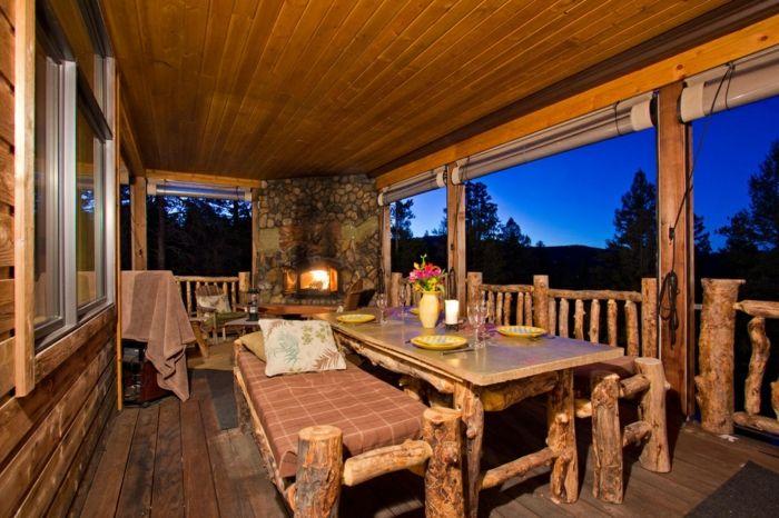 porches diseno estilo rustico muebles hechos madera natural ideas - Porches Rusticos