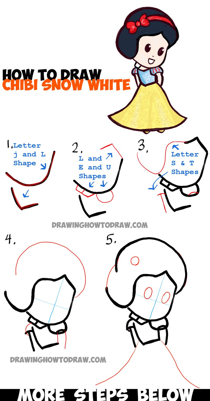 Learn how to draw cute baby chibi snow white in easy steps for Learn to draw simple things