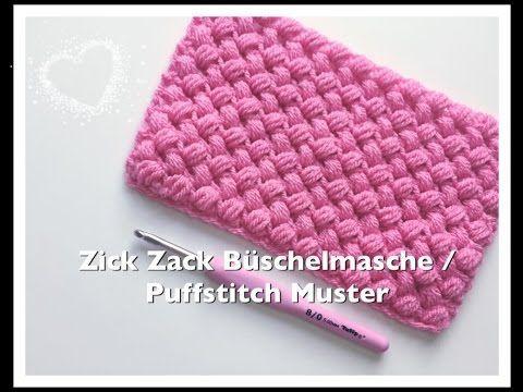 Zick Zack Muster Hakeln Zick Zack Buschelmaschen Puffstitch Hakeln Youtube Buschelmasche Topflappen Hakeln Muster