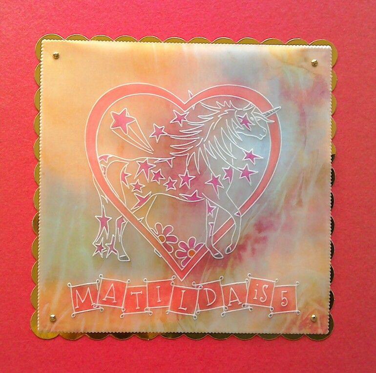 Groovi NDC member's unicorn plate 5th birthday card for my