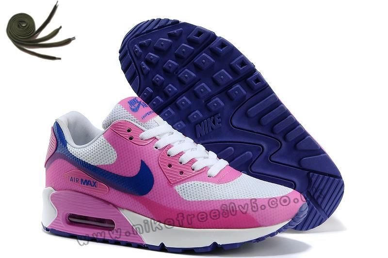 outlet store d1264 19ca9 White Pink Blue Nike Air Max 90 Hyperfuse Premium Womens Shoes Factory