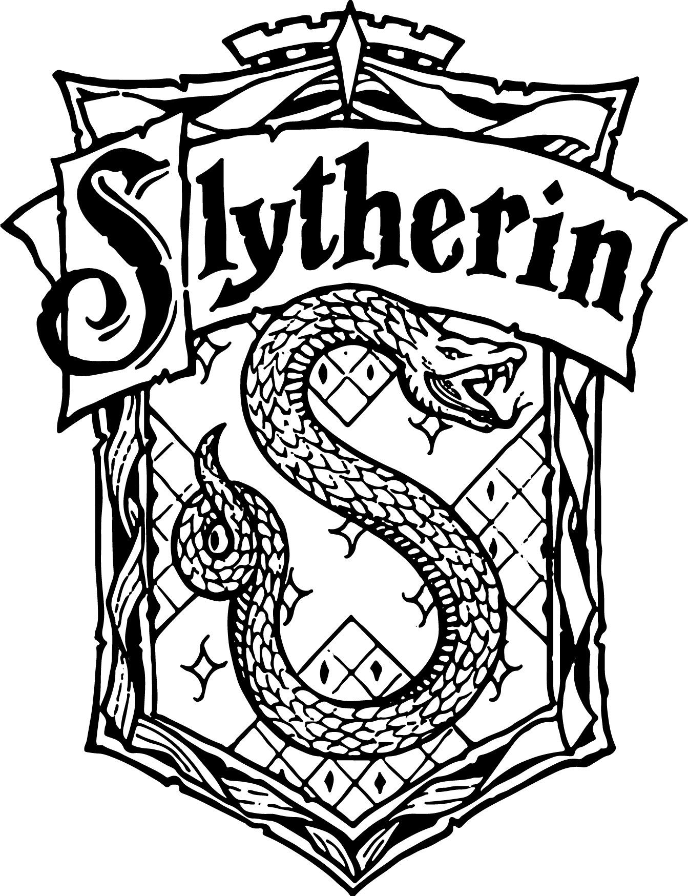 Slytherin Crest Emblem Badge Svg Harry Potter Hogwart S House