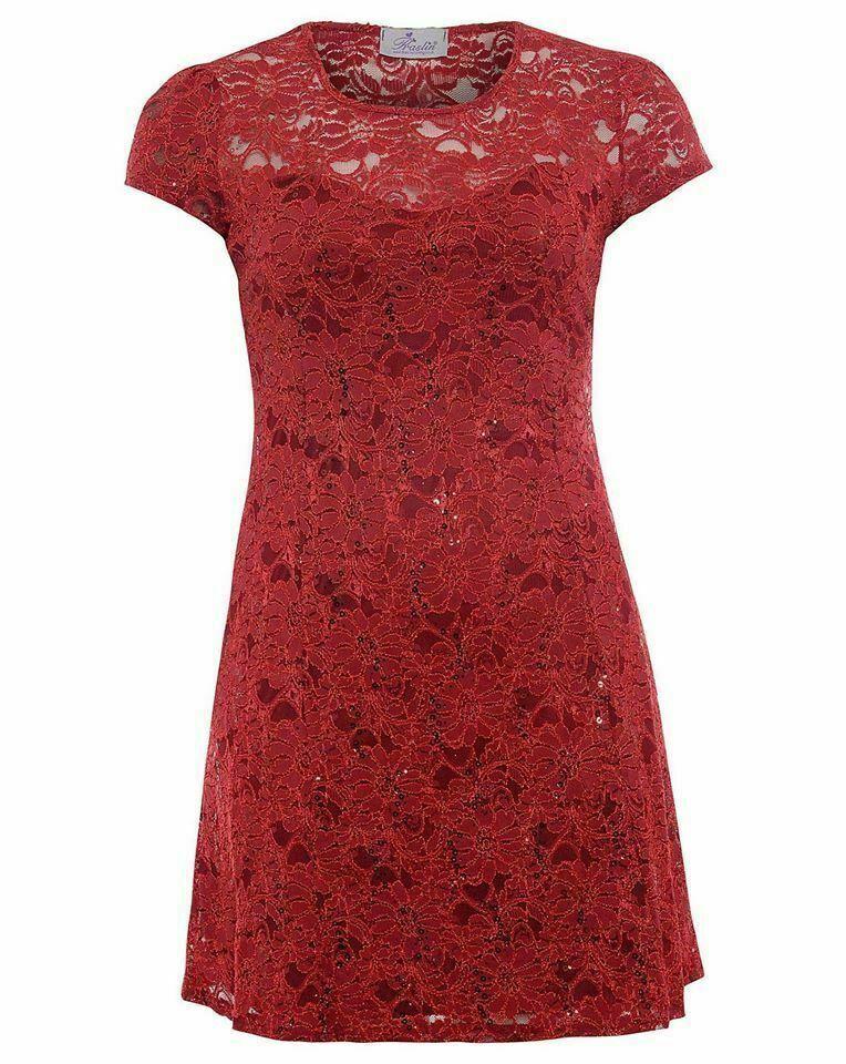Kleid Gr.42 Spitzenkleid rot Abendkleid Cocktailkleid ...