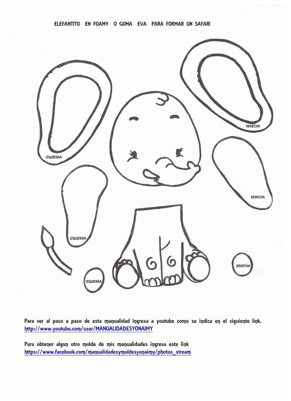 MANUALIDADES YONAIMY | Manualidades yonaimy, Elefante en goma eva, Patrones  de animales de fieltro