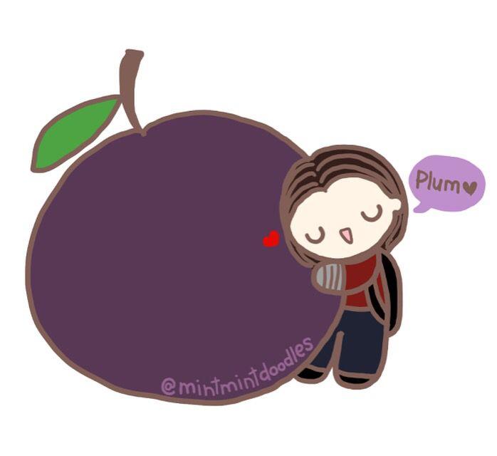 BuckBuck really loves his plums ♡ #plum #buckybarnes
