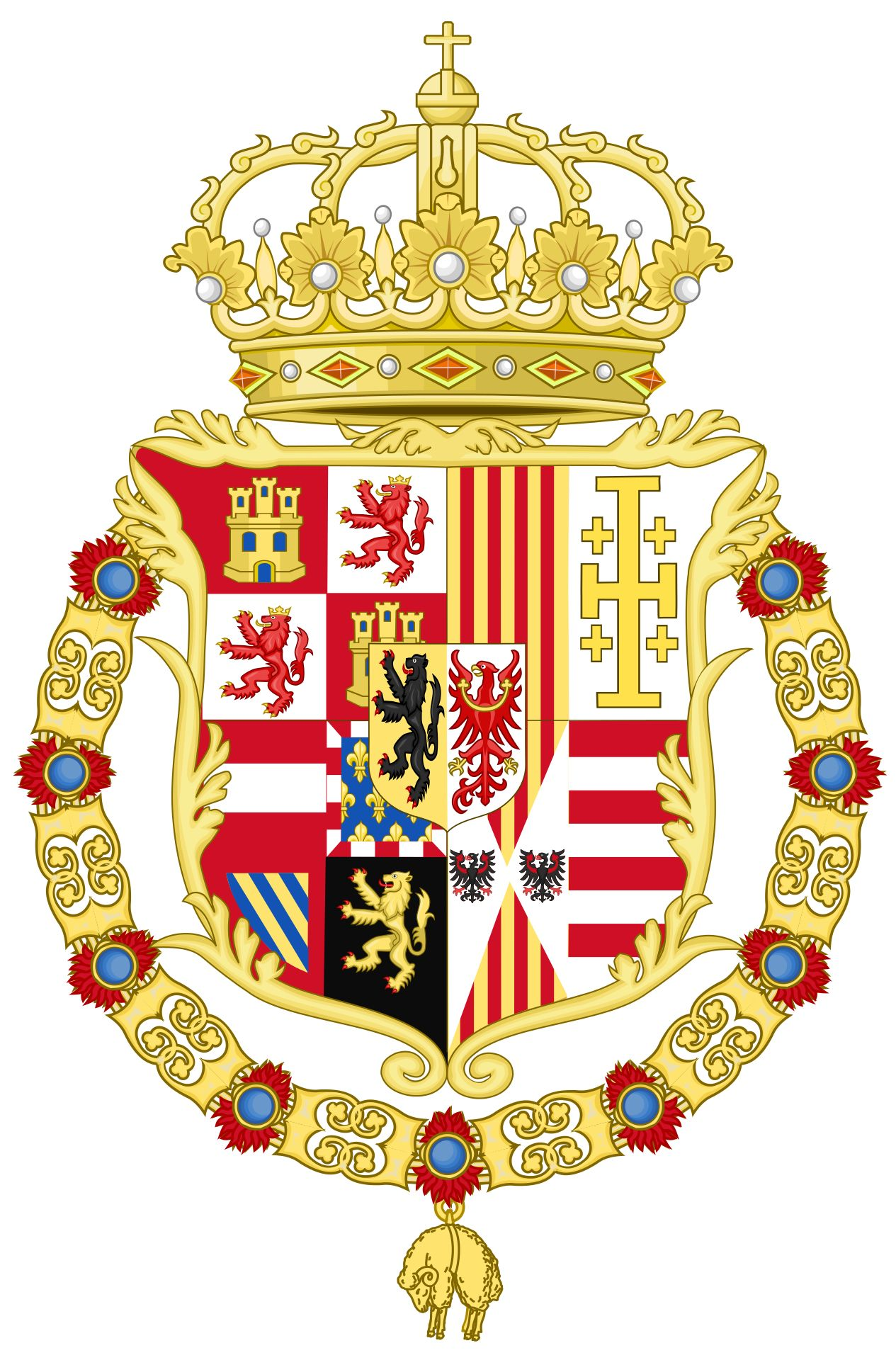 Heraldry Of Charles Ii Of Spain Coat Of Arms As King Of