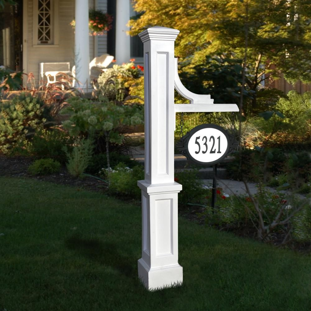 Mayne Woodhaven 56 in. Tall White Address Sign Post5812W
