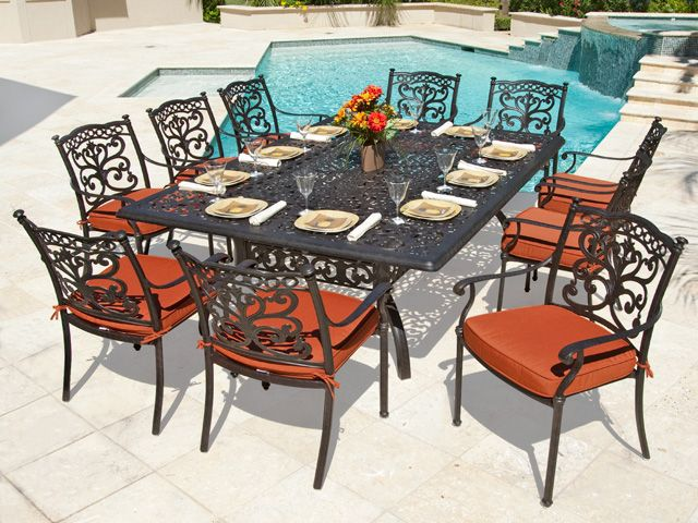 Milan Cast Aluminum 11 Pc Dining Set With 90 X 64 Table Cast Aluminum Patio Furniture Aluminum Patio Furniture Iron Patio Furniture