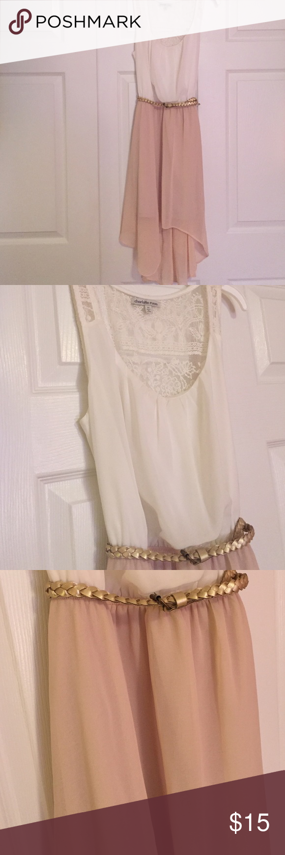 WORN TWICE Charlotte Russe high-low dress White too with lace back, gold belt and pale pink high-low skirt. Perfectly new condition Charlotte Russe Dresses High Low