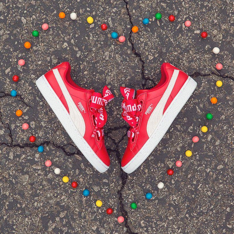 zapatillas puma basket heart rojas