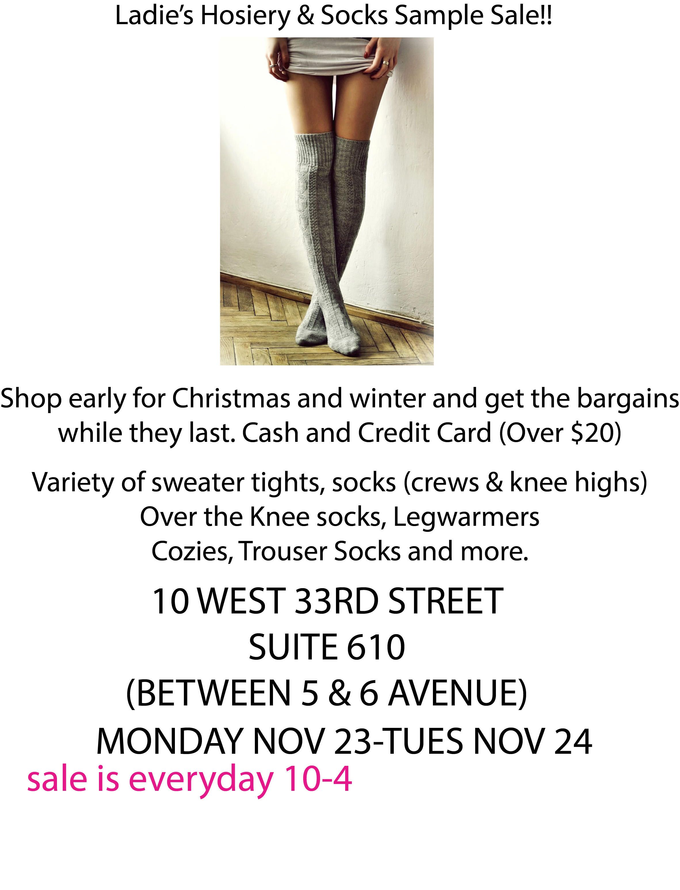5844066f3 The best sample sales in NYC this week | Woman's Fashion Socks | New ...