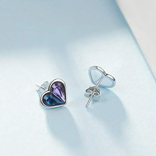 3e93352843a08 AOBOCO 925 Sterling Silver Heart Stud Earrings with Blue Purple ...