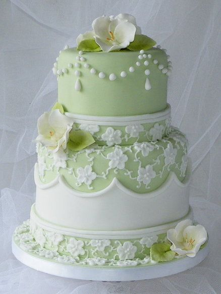 Stunning! Sage Lace Wedding Cake ~ All edible
