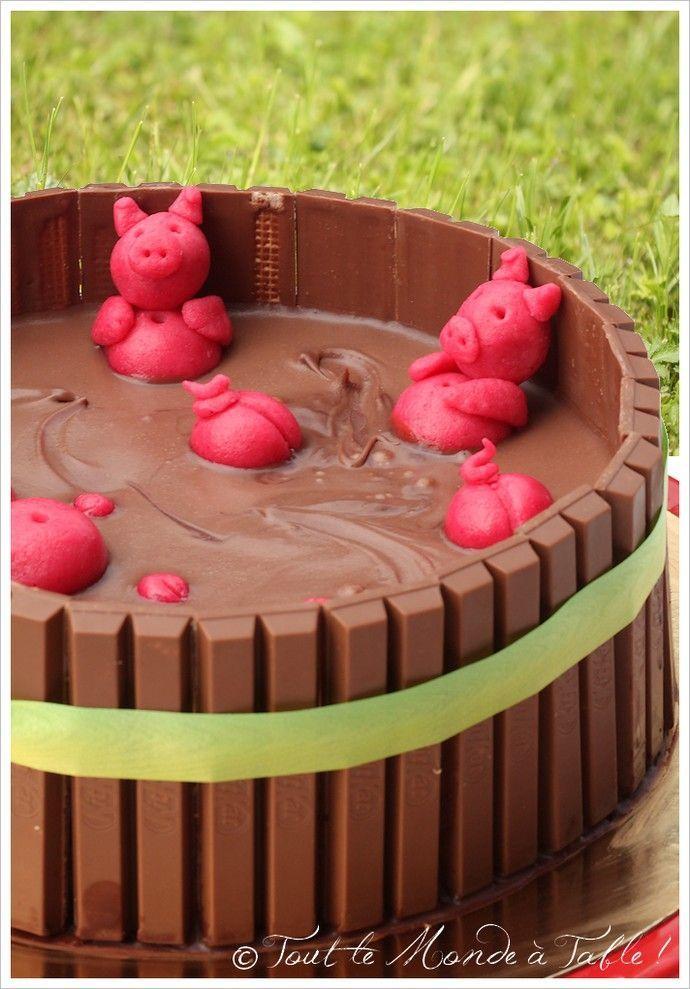 G teau 3d la piscine cochons tout le monde table piscines gourmandes pinterest - Papa cochon a la piscine ...