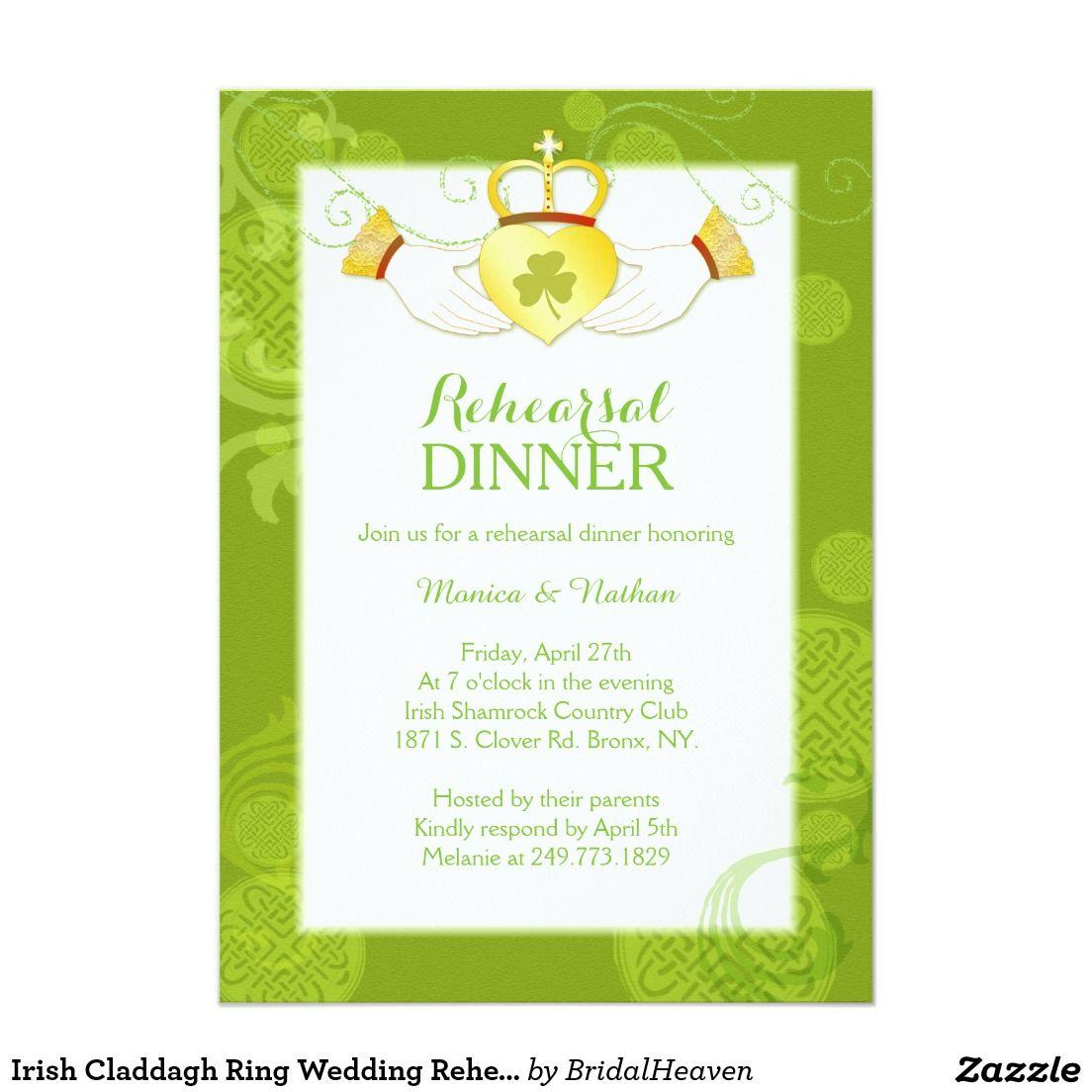 Irish Claddagh Ring Wedding Rehearsal Dinner: Invitations Wedding Fun Irish At Websimilar.org