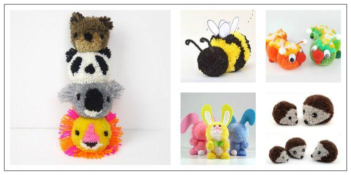 Animales hechos con pompones de lana manualidades - Patrones de cabezas de animales de tela ...