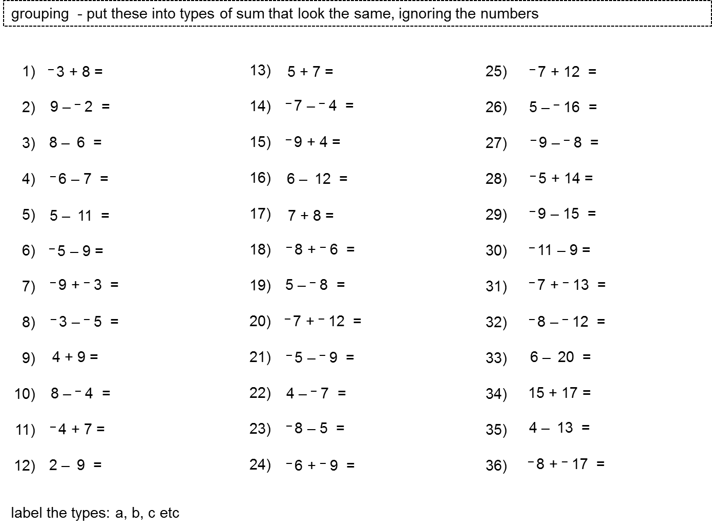 MEDIAN Don Steward secondary maths teaching: adding/subtracting ...