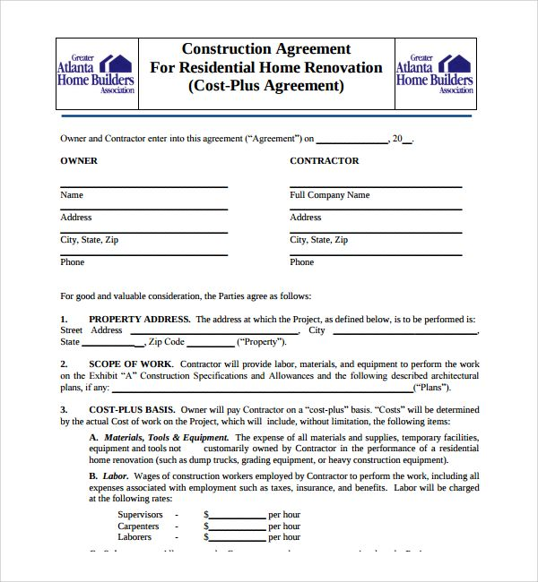 Construction contractors and agents have to go through a lot of - commercial agreement format