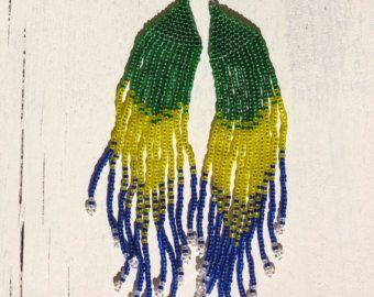 Long Beaded Earrings, World Cup, Brazil, FIFA, Carnival