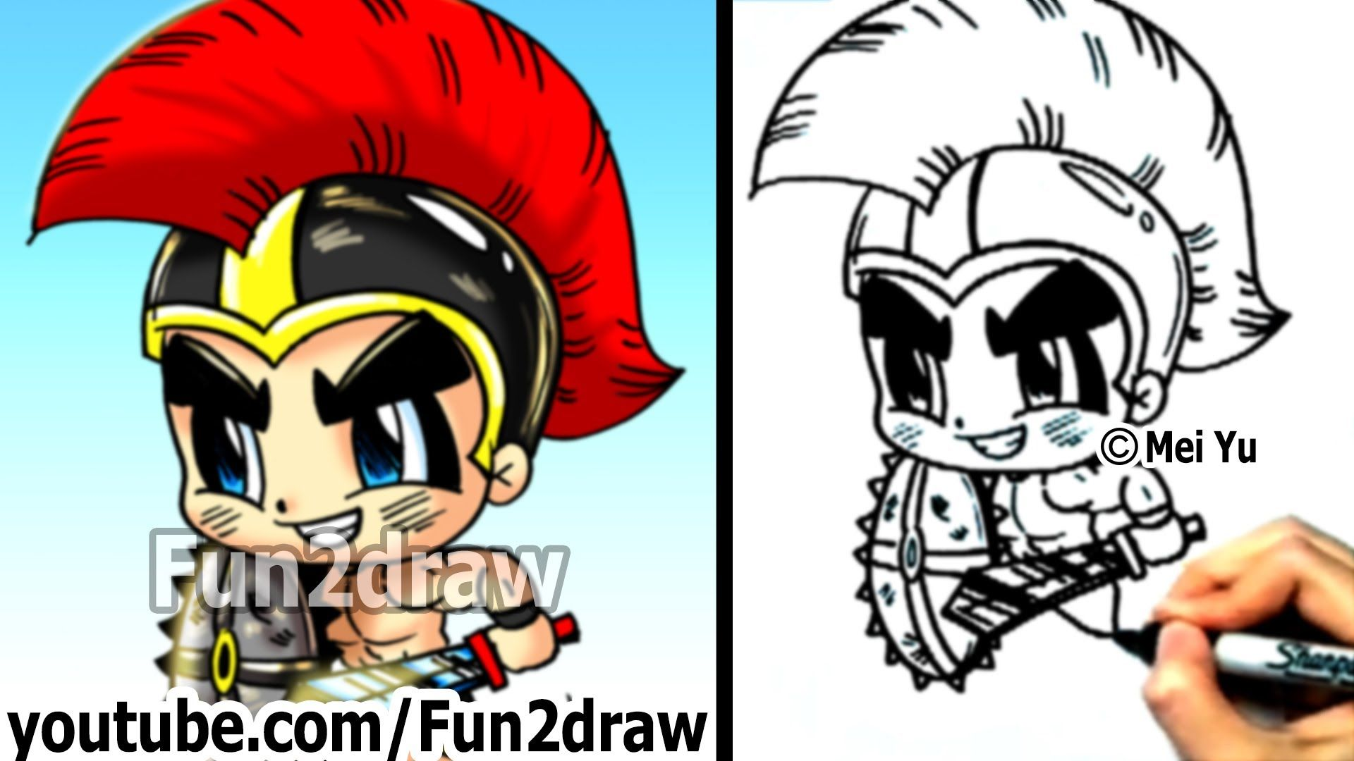 How to draw cartoon people gladiator warrior fun things to draw fu