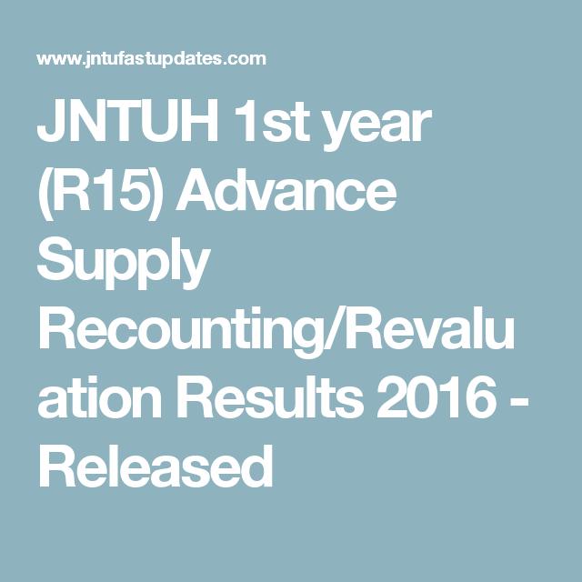 JNTUH B Tech/B Pharmacy 1st year (R15) Supply Results August