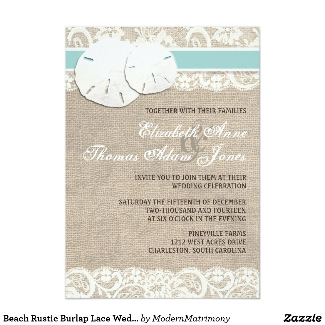 Beach Rustic Burlap Lace Wedding Invitation This elegant beach ...