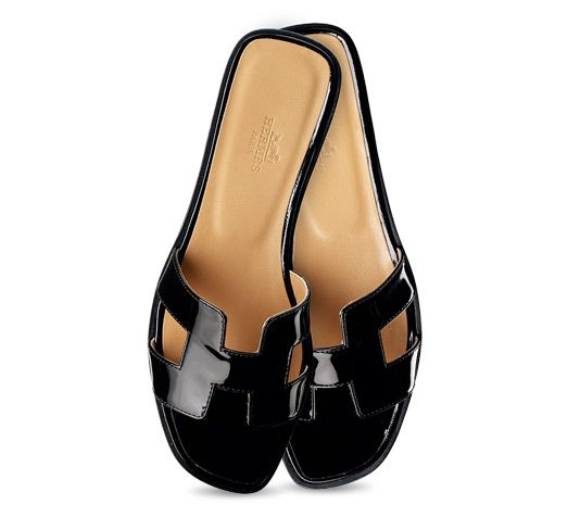 acbce8592751 Oran Hermes ladies' sandal in black patent leather with black  stitching<br><br><span style=