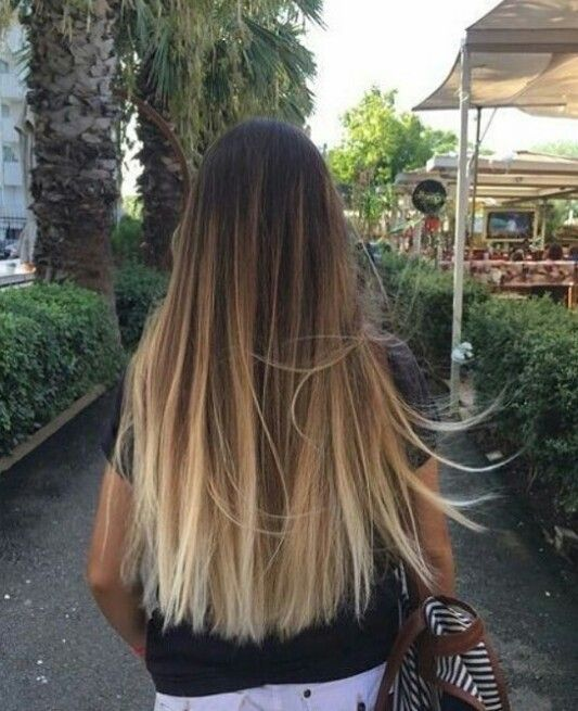 Blonde Streaks Straight Ombre Hairbrown