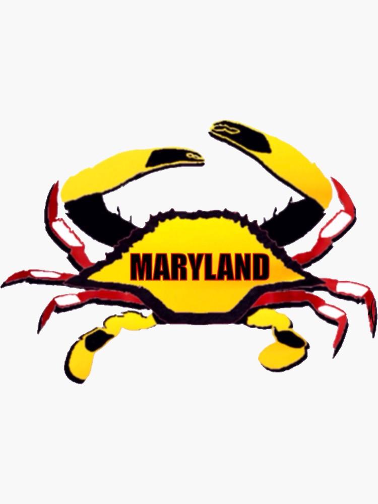 Maryland State Flag Blue Crab Sticker Sticker By Excalibur1365 Redbubble Blue Crab Sticker Blue Crab Blue
