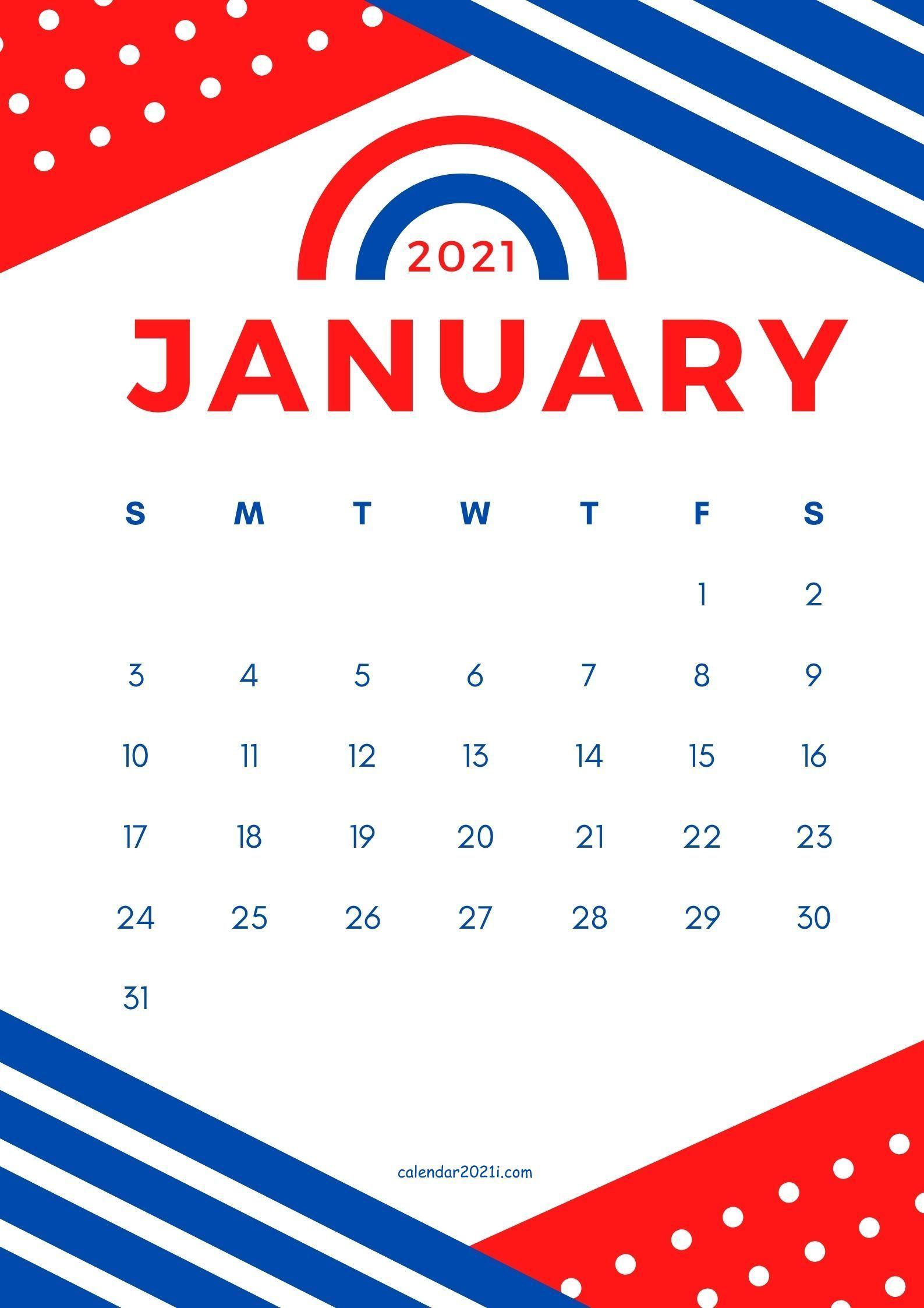 January 2021 Calendar Design Diy Theme Idea In Red And Blue Color Combination Calendar Design Calendar Design Template 2021 Calendar