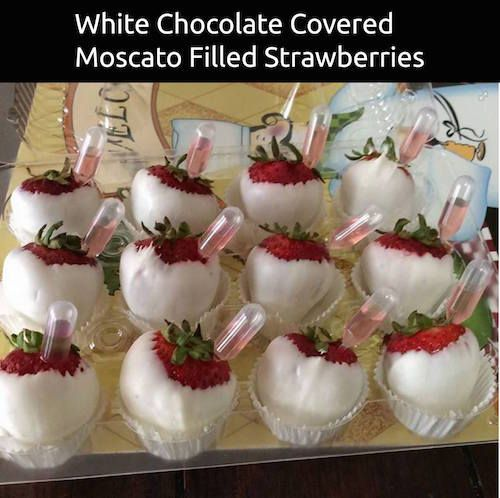 White Chocolate Covered Strawberries Filled With Moscato
