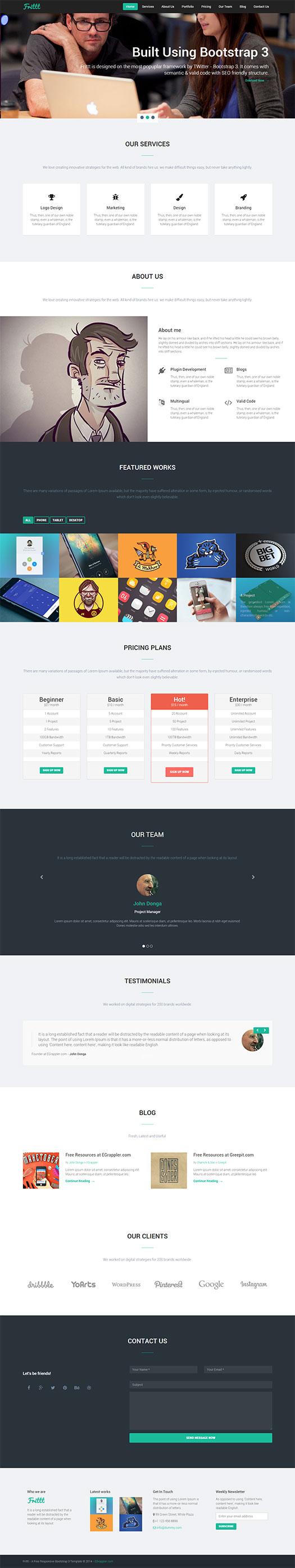 Free Responsive Single Web Page Bs3 Template Frittt Templates Web Design Web Design Inspiration