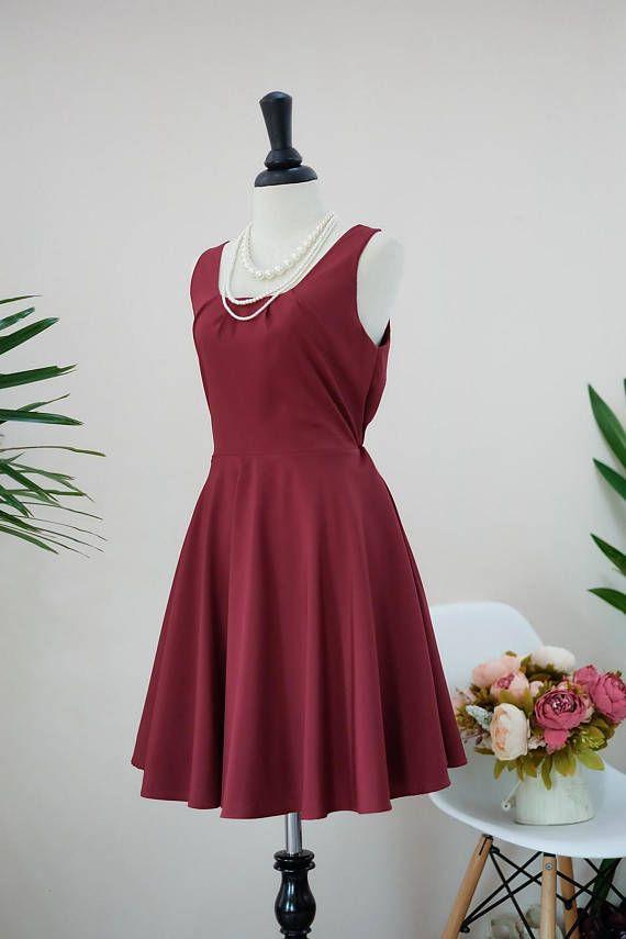 Roten Kleid Bordeaux Bordeaux Kleid Partei Kleid dunkel rot ...