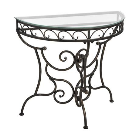 Attractive Iron Half Moon Hall Table With Glass Top, $100 !