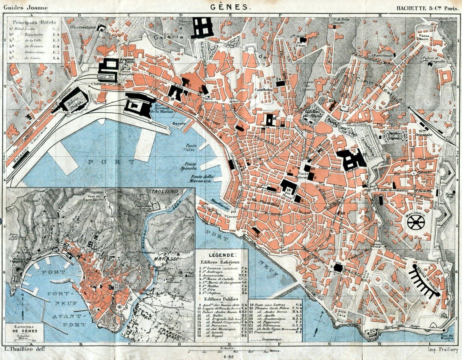 Cartina Topografica.Pianta Di Genova Carta Topografica Joanne Cromolitografia Passepartout 1886 Genova Litografia Piante