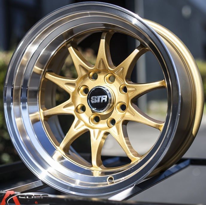 15x8 Str 513 4x114 3 0 Gold Machined Wheel Fit Datsun