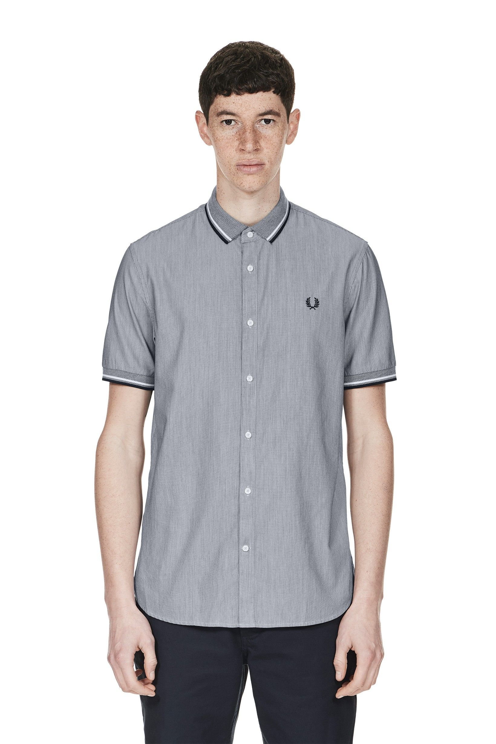 Fred Perry - Knitted Collar Chequerboard Shirt Navy