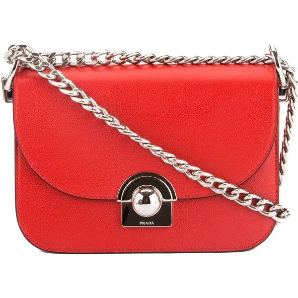 Red studded leather shoulder bag Prada twbcJ